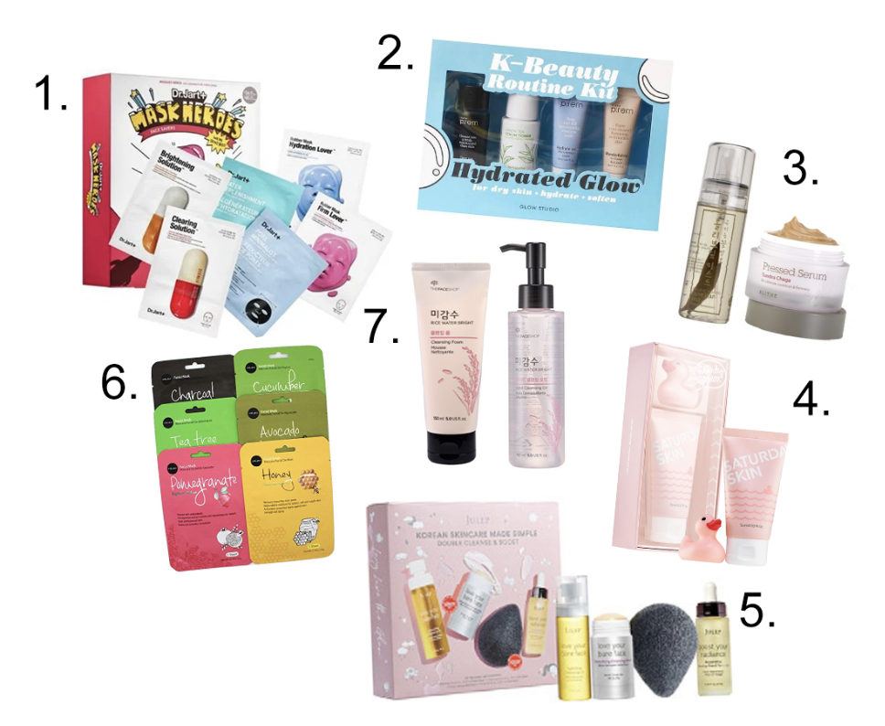 1. DR JART+ Mask Heroes Face Savers- $36- Sephora 2. Glow Studio Hydrated Glow K-Beauty Routine Kit- $13.79- Target 3. Glow Recipe Korean Beauty 2-Set - $78- Glow Recipe  4. Saturday Skin Saturday Squeak Set- $29- Sephora 5. Julep Korean Skincare Made Simple Double Cleanse & Boost Set- $49- ULTA 6. Celavi Essence Face Sheet 12 Pack- $9.50- Amazon 7. The Rice Shop Rice Water Cleanser & Moisturizer 2 Pack- $13.20- Amazon