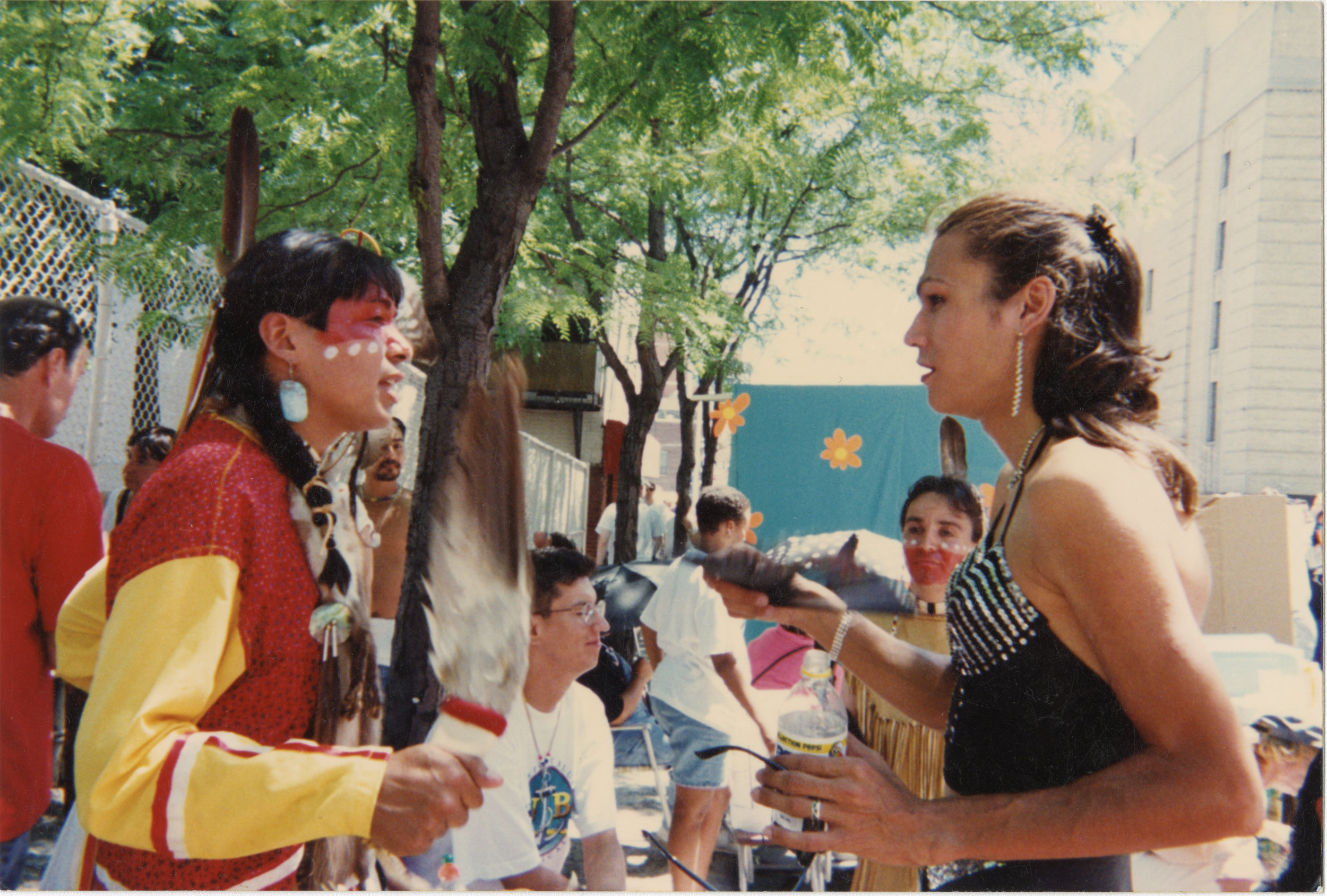 Alley Yapput, Stacy Status, and June Thunderchild at Pride in Toronto, 1992. Courtesy of the University of Winnipeg Archives, Two-Spirited Collection.
