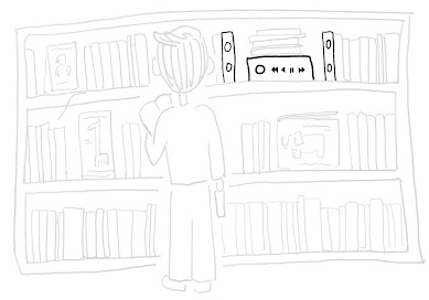 Sketch of a user browsing, in an Ambiance zone.