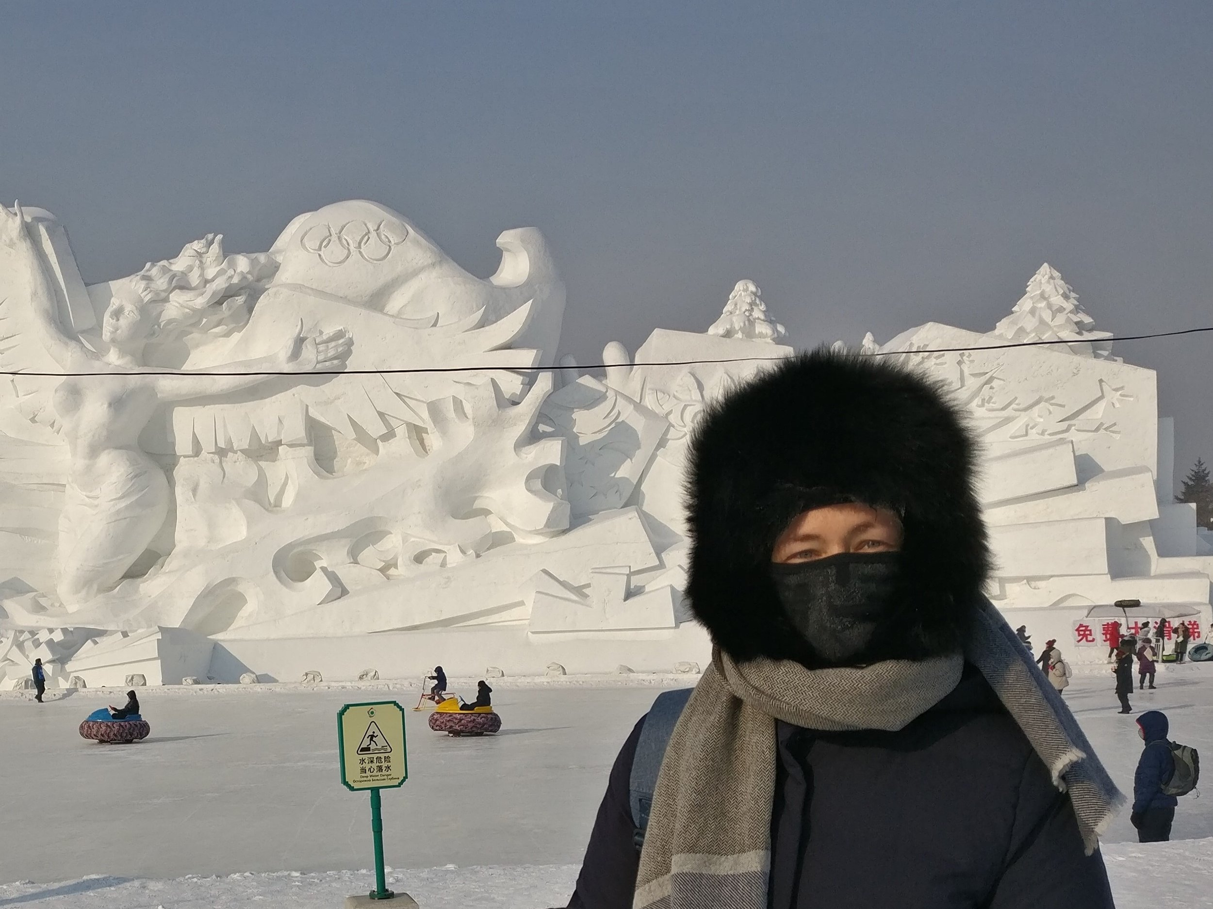 Kirsty at the Harbin ice festival in winter, when temperatures drop to -30 degrees Celsius.