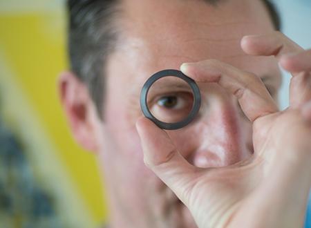 Christophe Hoppe with his new Bauselite watch casing Credit: Flinders University/Bausele.