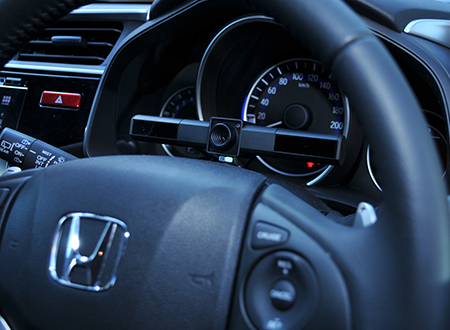 Automotive eye tracking technology being used in a car.