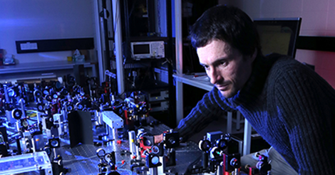 Associate Professor Ben Buchler aligning a quantum memory experiment at ANU. Credit: The Australian National University.