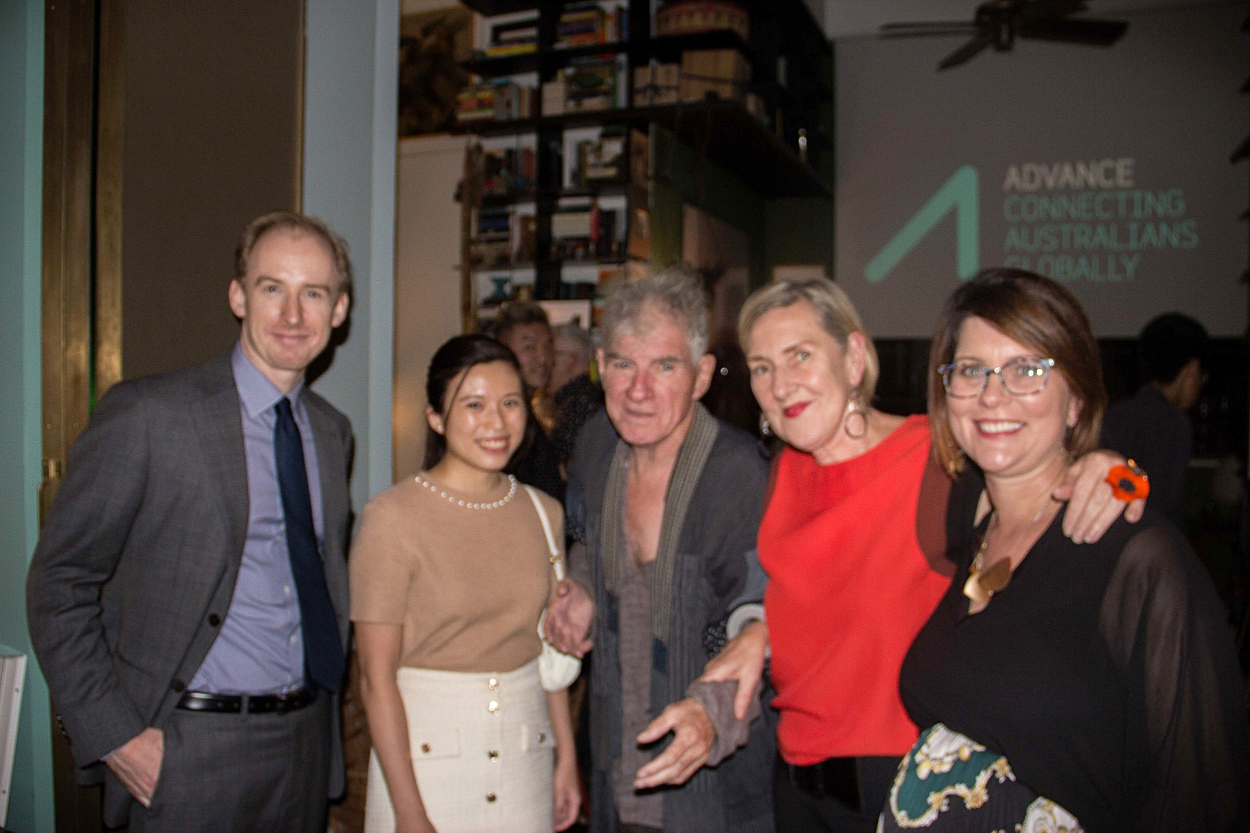 From left to right: Sam Guthrie, Senior Trade Commissioner, Deputy Consul-General of AustralianConsulate-General in Hong Kong, Michelle Li, Christopher Doyle, Michelle Garnaut AO , Advance Global Board Member and Stefanie Myers, Advance Asia Director.