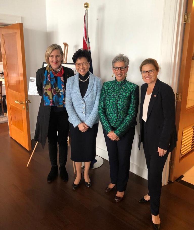 (L to R) Michelle Garnaut AO, Hong Kong Chief Executive Carrie Lam, The Hon. Linda Dessau AC and Australian Consul General Micheala Browning