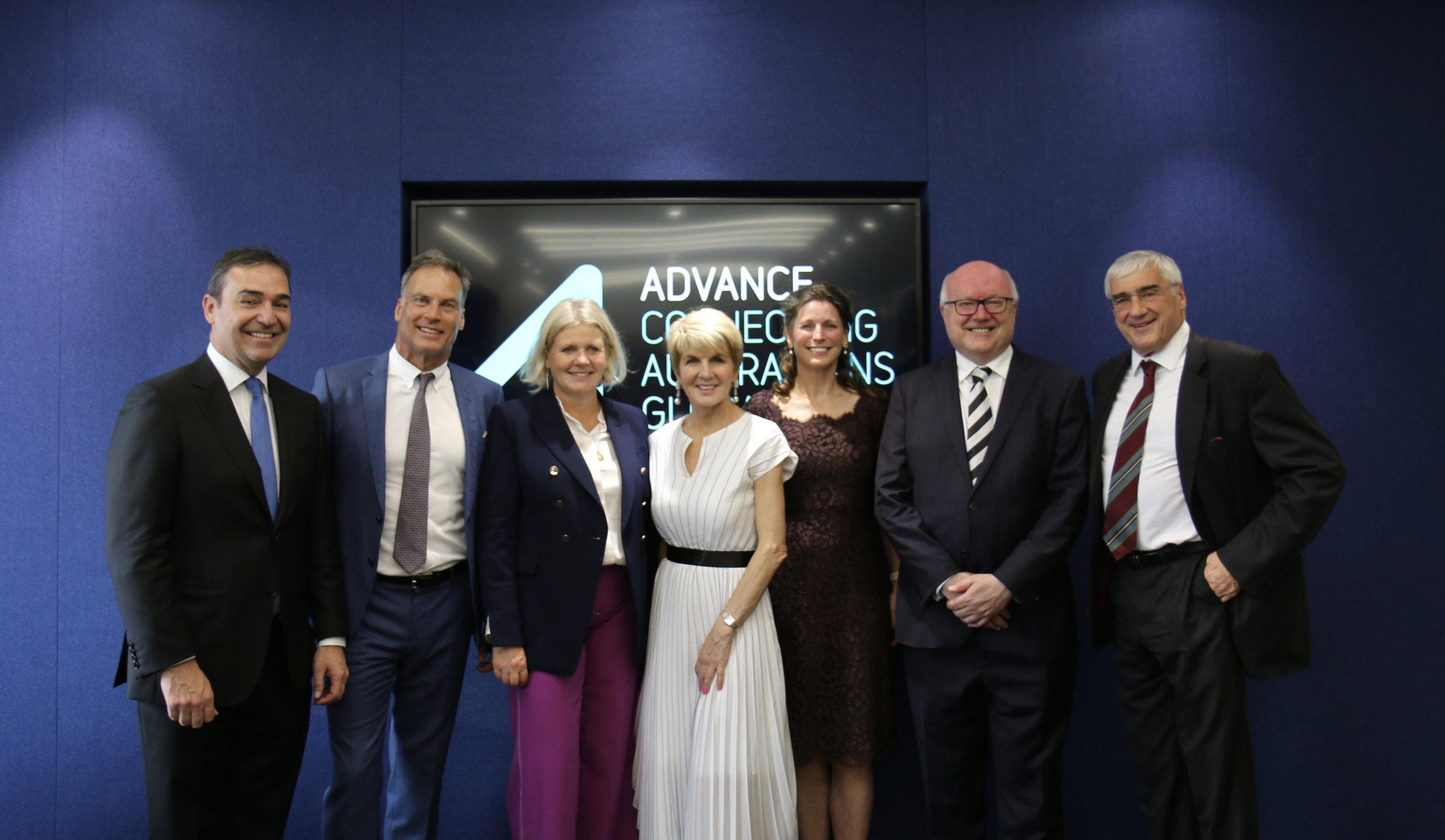 The Hon Steven Marshall MP, Premier of South Australia, David Panton, Yasmin Allen, Chairman of Advance, Julie Bishop, The Hon Jeannie Lopes, UK Ambassador for Advance, His Excellency, The Hon George Brandis QC, High Commissioner to Australia, Sir Michael Hintze GCSG AM