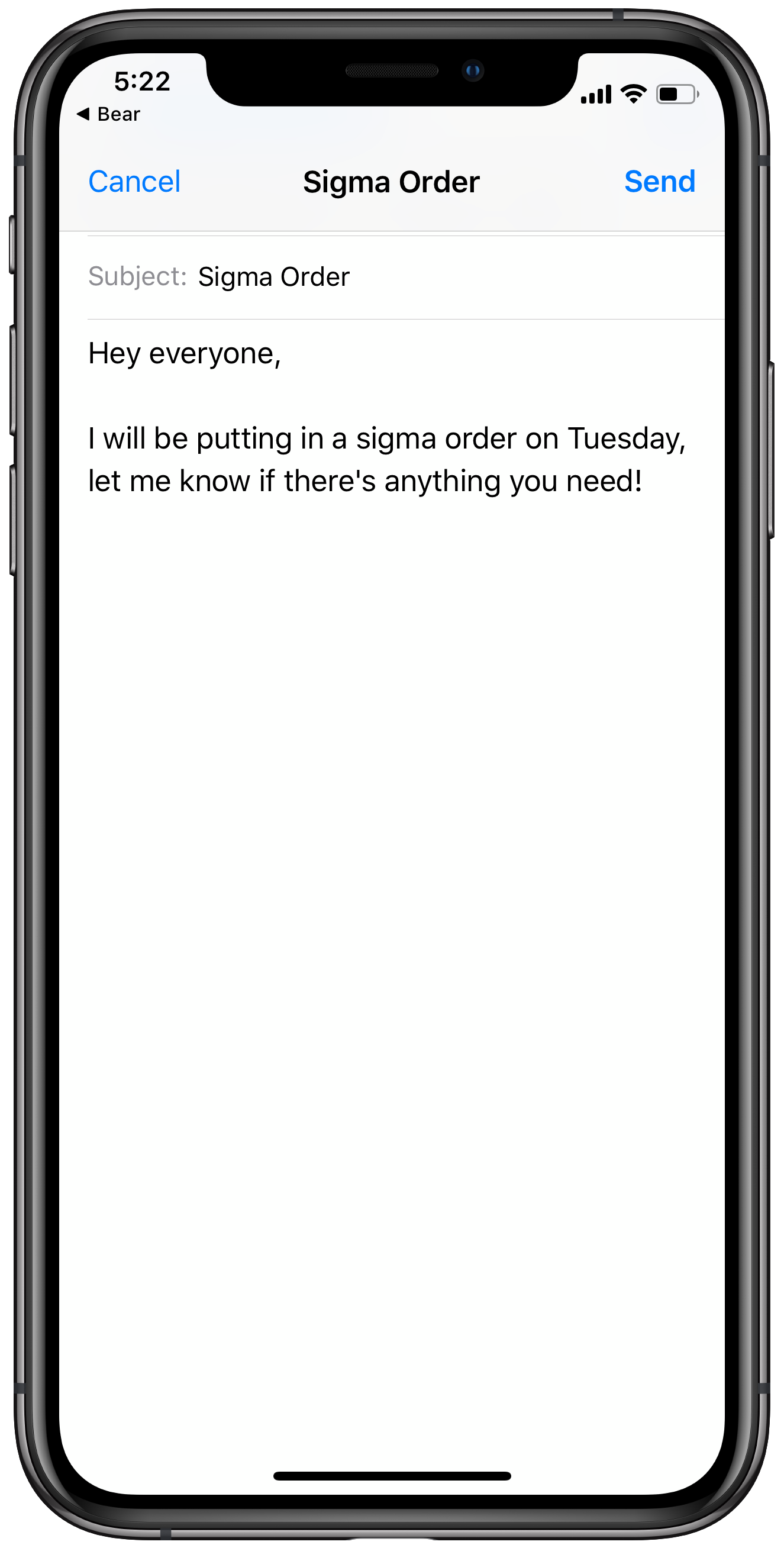 Send an email to your coworkers using the shortcut to let them know about the order
