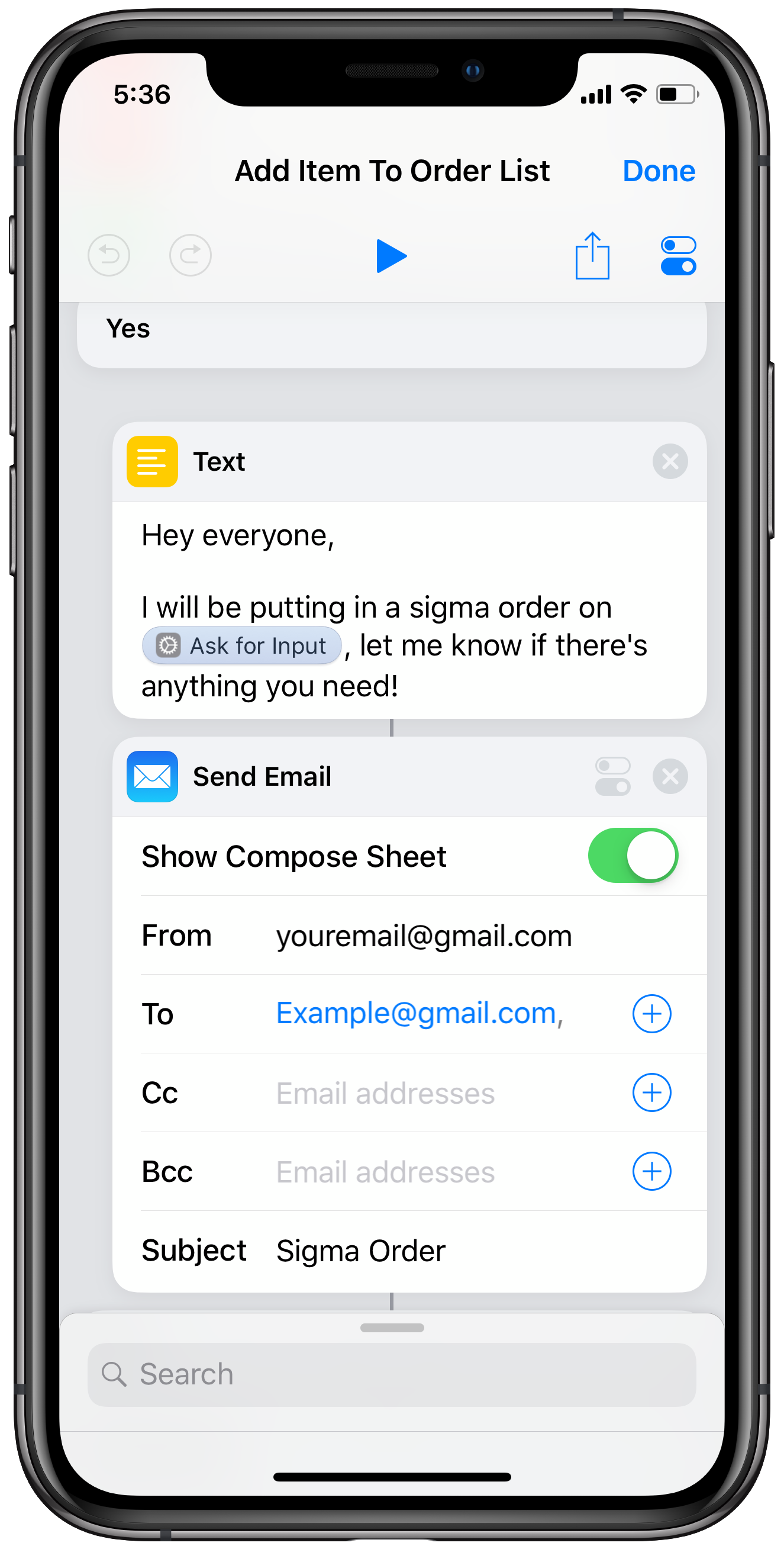 Send an email automatically using Shortcuts actions