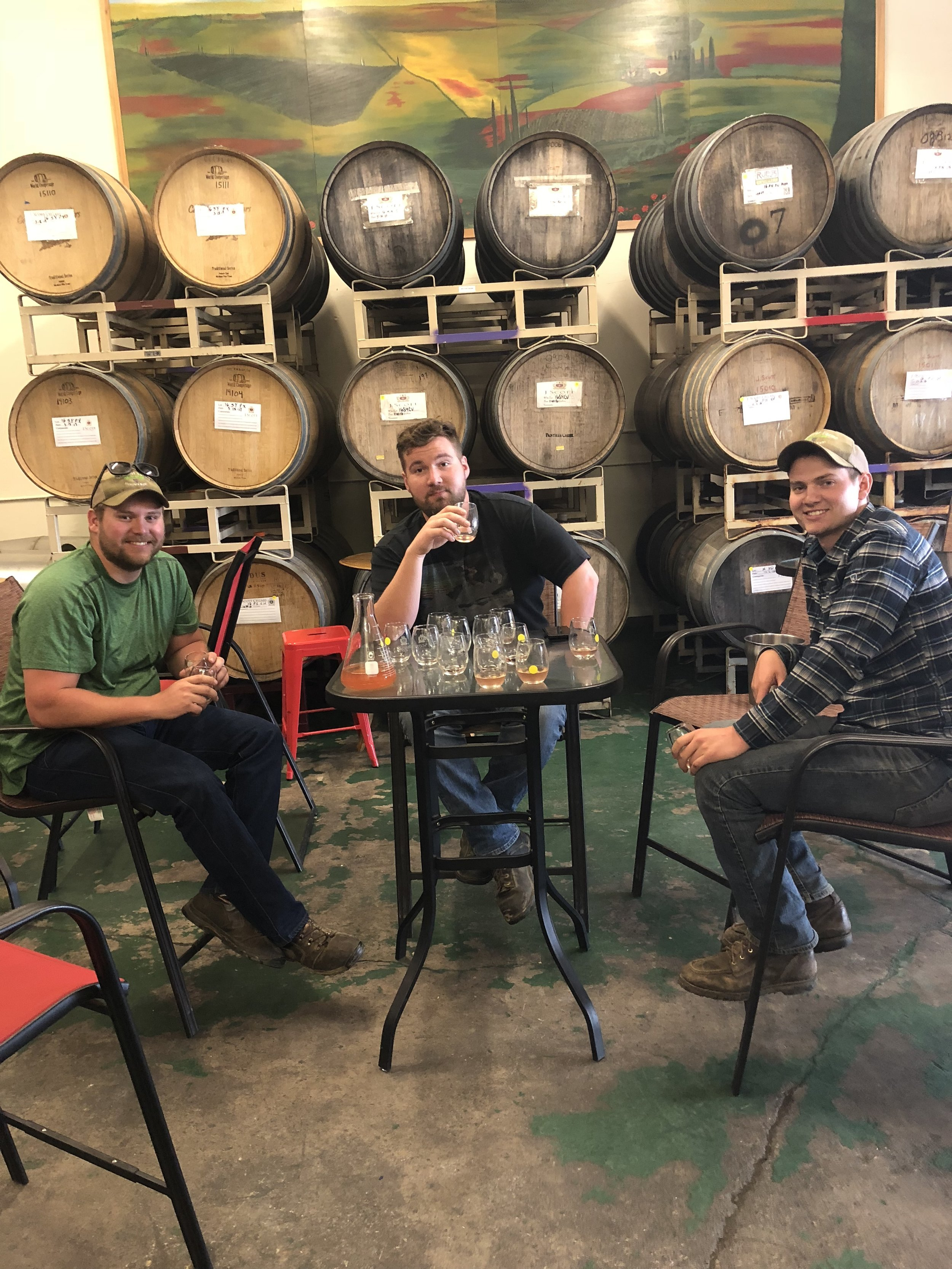 From left to right: Ben Kraemer, vineyard operations manager; Alex Kraemer, social media manager; Austin Kraemer, contract manager, sales manager.