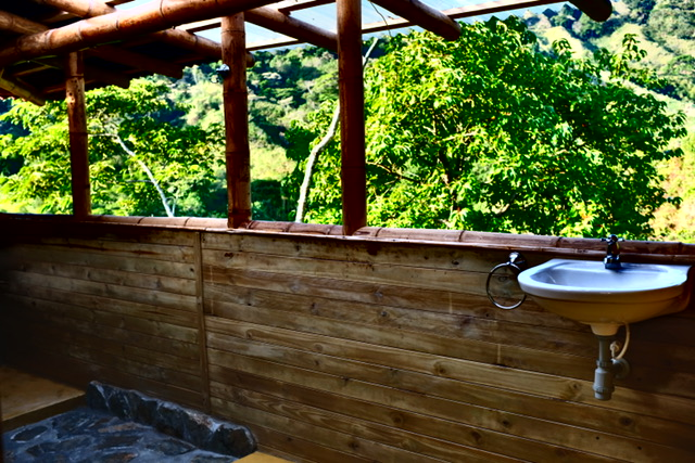 Shared Bathroom in Bamboo House in the Sky