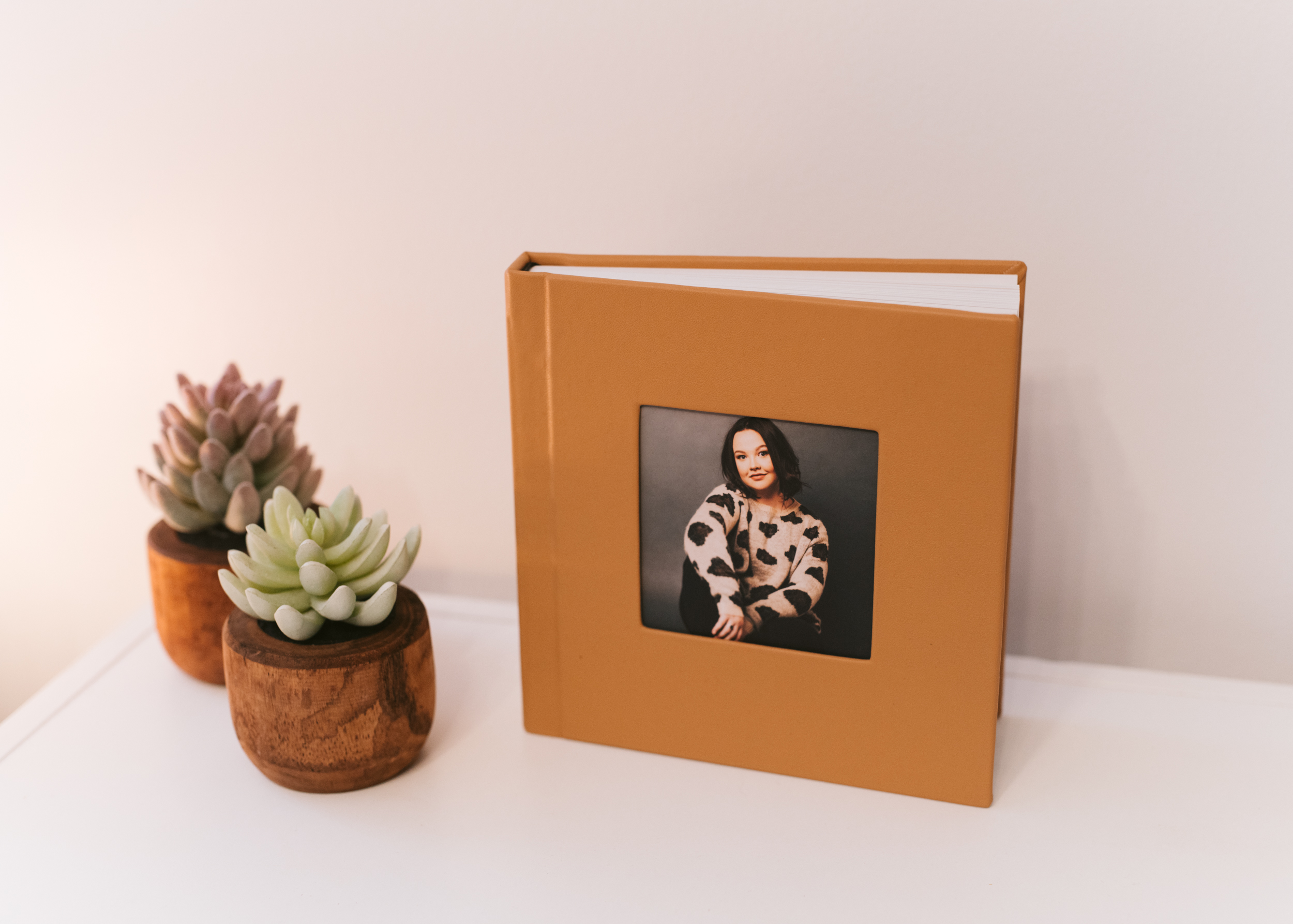 """vegan, pvc free leather in """"cashew"""" with deep matter paper and cameo. we love this color combo!"""