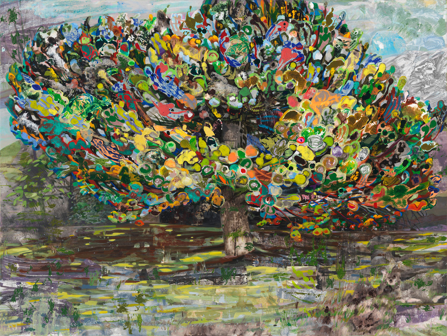 "The Eyed Tree 2, 2013, acrylic, collage, oil on canvas, 44"" x 59"""