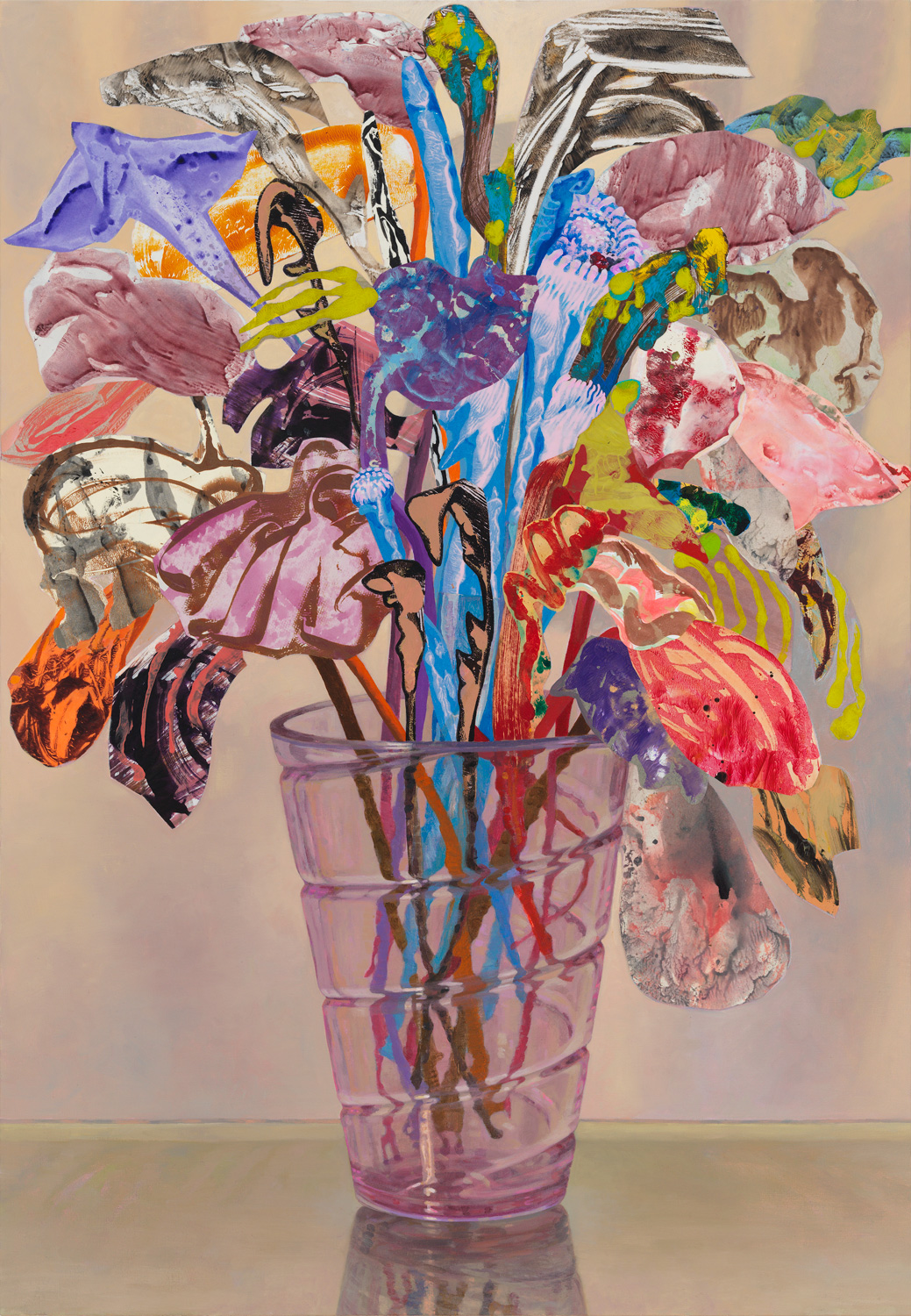 "Lilac Swirl, 2015, acrylic, collage, oil on canvas, 46"" x 32"""