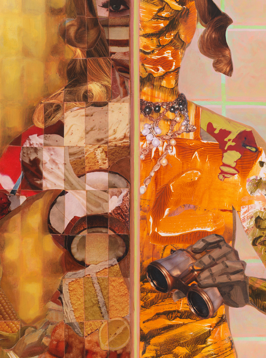 "Binocular Stall (detail), 2011, acrylic, collage, oil on canvas, 41"" x 31"""