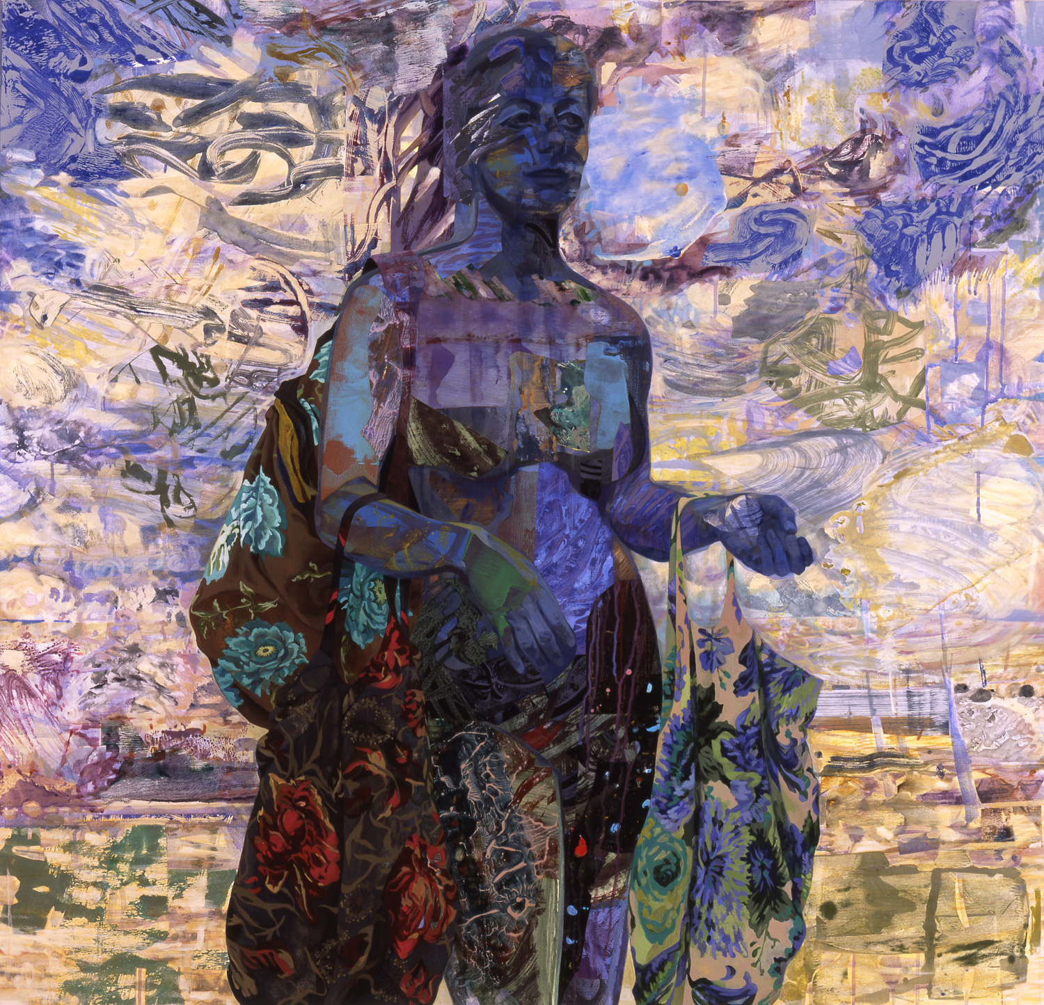"To Her Senses, 2005, acrylic, oil, collage on canvas, 48"" x 50"""