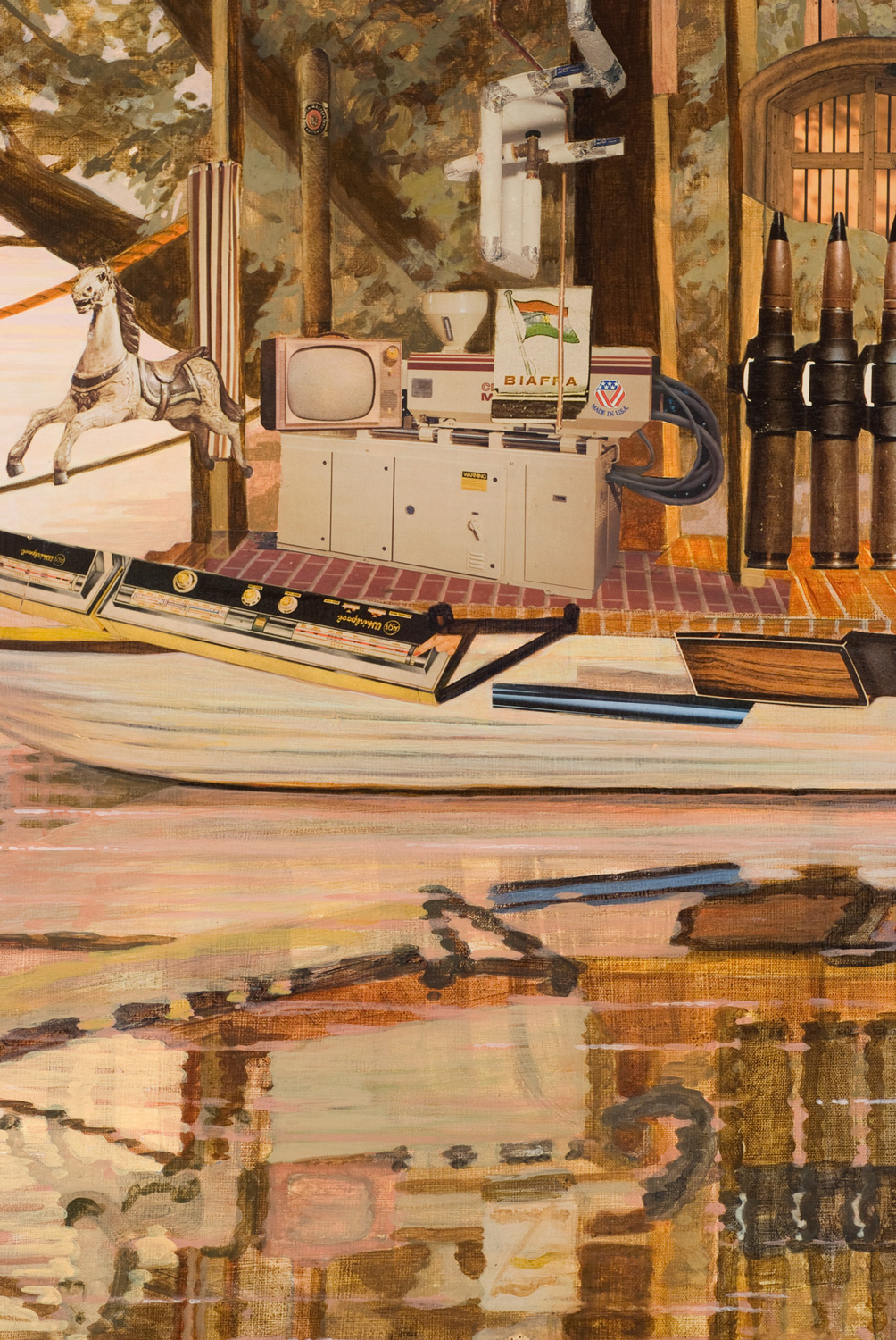 "The Bend (detail), 2007, acrylic, collage on canvas, 35"" x 50"""