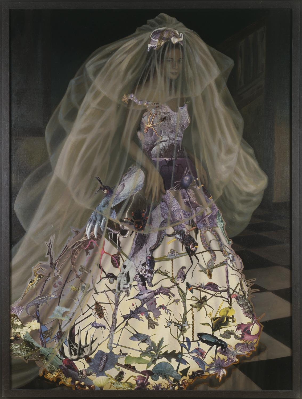 "La Puntura, 1992, oil, collage on canvas, 74"" x 56"""