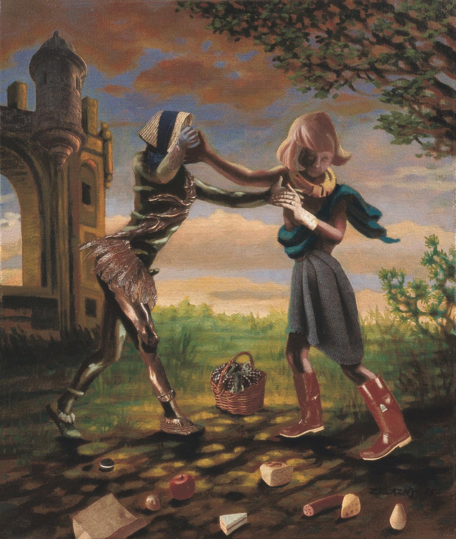 "Polonaise #4 Light Repast, 1995, acrylic, oil, collage on canvas, 13"" x 11"""