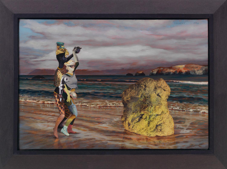 """Polonaise #20 Rock, Heel, Toe, 1996, acrylic, oil, collage on canvas, 12"""" x 18"""""""