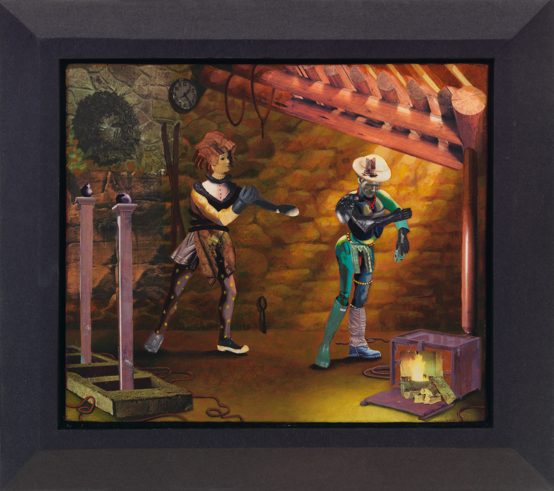"Polonaise #10 Porquoi, 1996, acrylic, oil, collage on canvas, 13"" x 11"""