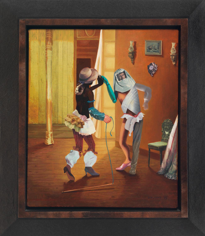 "Polonaise #16 Toe and Turn, 1996, acrylic, oil, collage on canvas, 13"" x 11"""