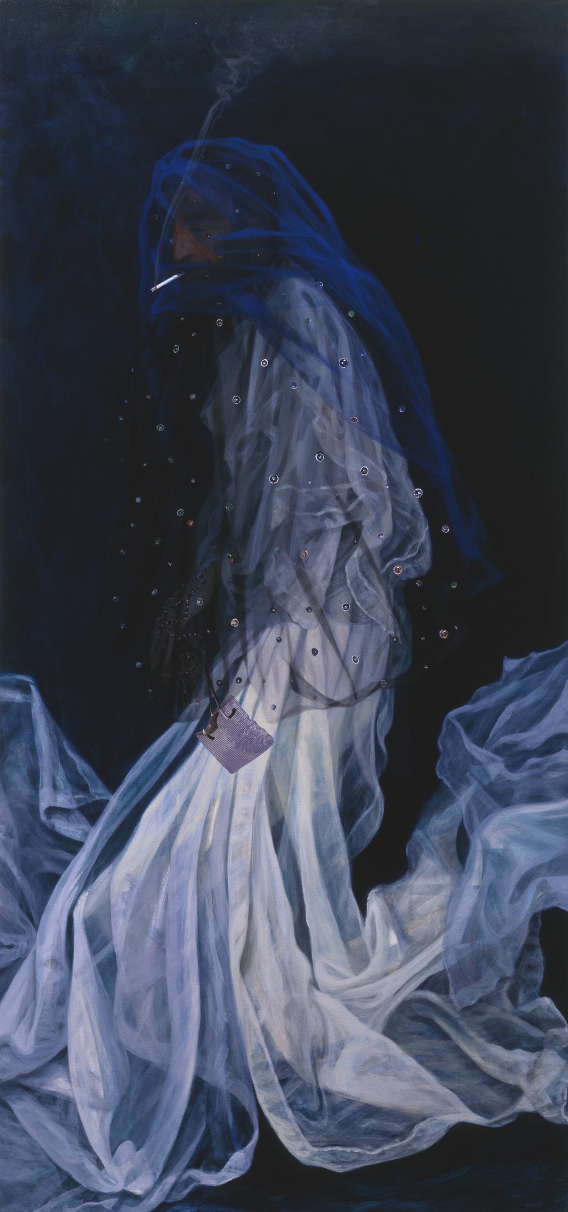 "Old Art Hub, 2000, acrylic, oil, collage on canvas, 76"" x 35.5"""