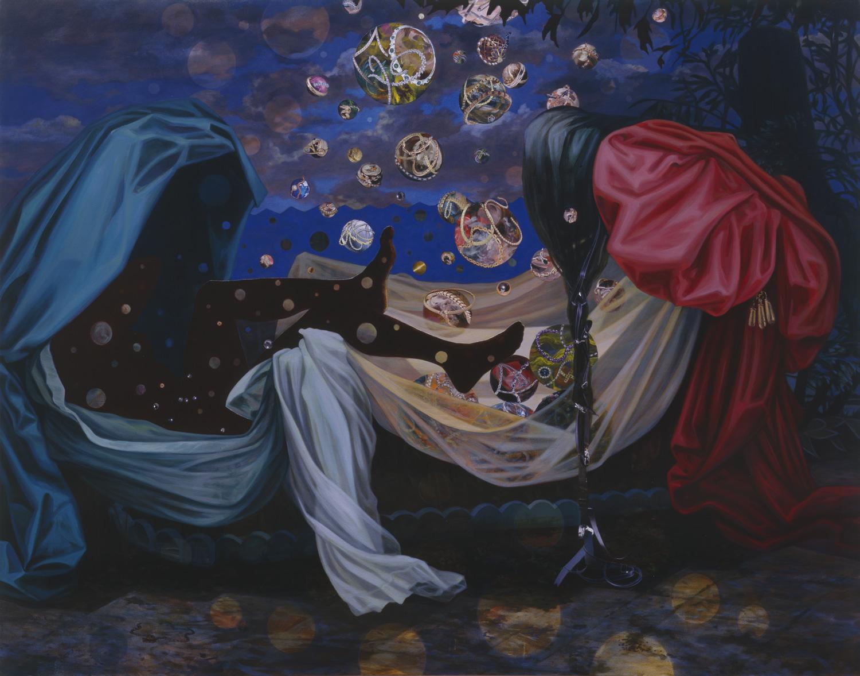 "The Rape of Danaë, 2000, acrylic, oil, collage on canvas, 66"" x 85"""