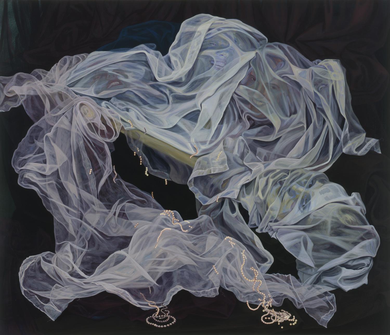 """The Rape of the Medusa, 2000, acrylic, oil, collage on canvas, 57"""" x 67"""""""