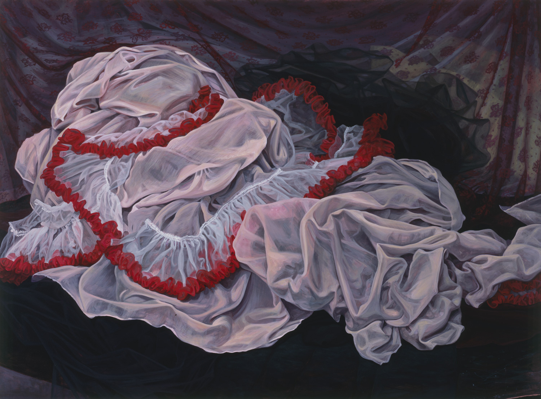 "The Sleeping Bag, 2000, acrylic, oil, collage on canvas, 47"" x 64"""
