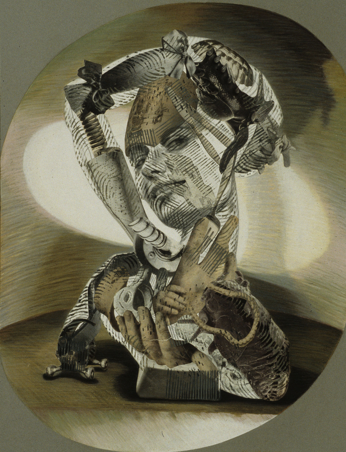"""Fourchette, 1993, mixed media, collage on paper, 34"""" x 26"""""""
