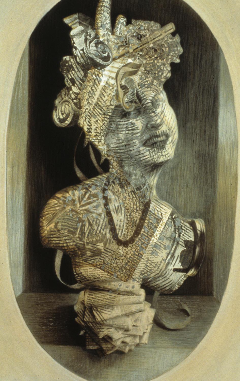 "Höchstaplerin, 1993, mixed media, collage on paper, 32"" x 20"""