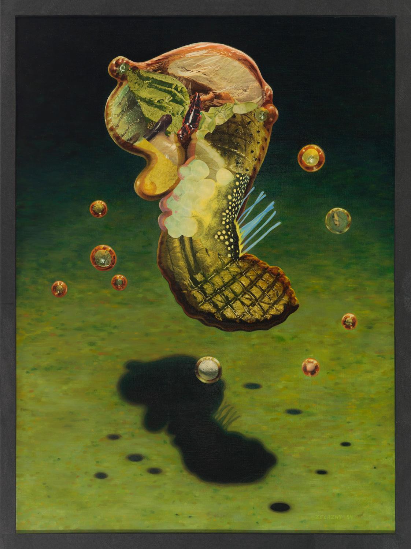 "Cucumbra, 1993, oil, collage on canvas, 43"" x 32"""