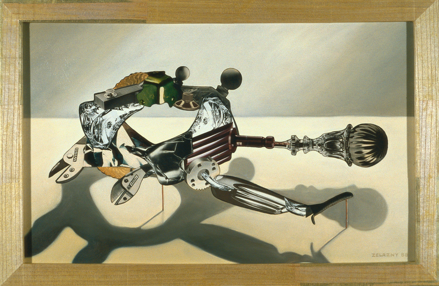 "Horizontal Convertor, 1989, oil, collage on panel, 23"" x 35"""