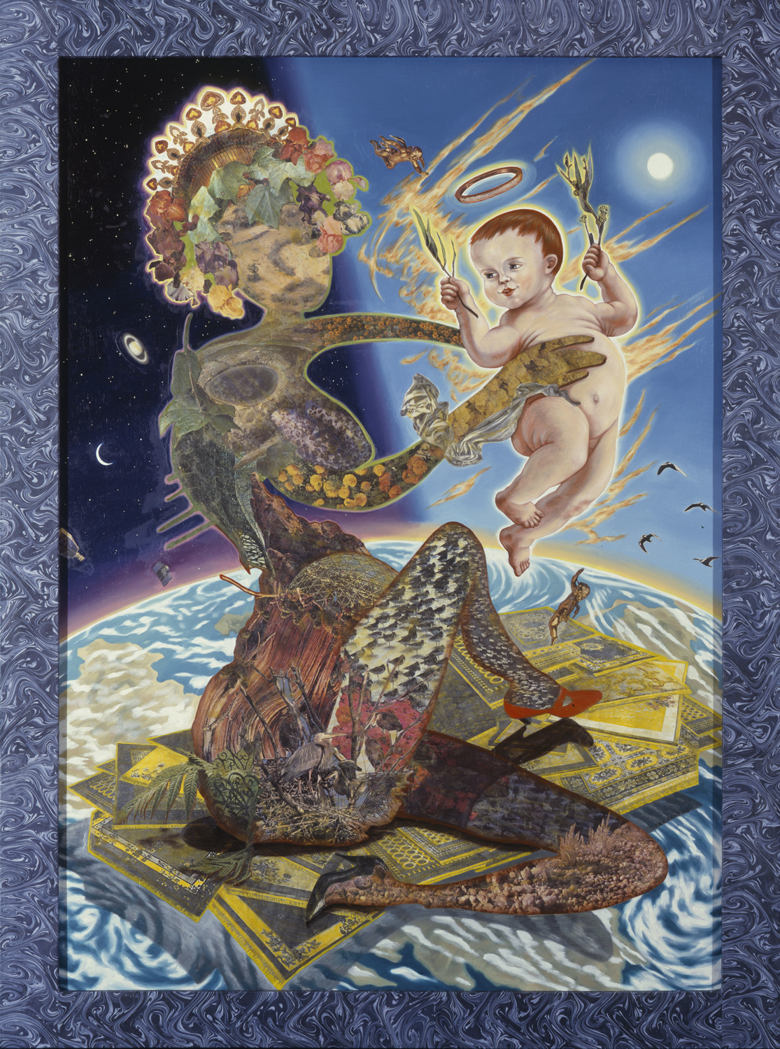 "Madonna of the Firmament, 1988, oil, collage on panel, 64"" x 47.5"""