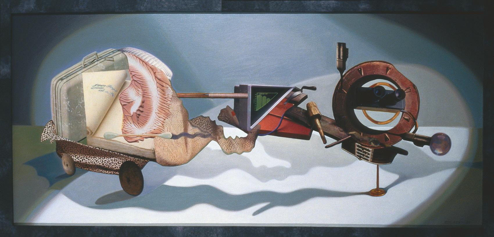 "Seeing is Believing, 1989, oil, collage on canvas, 27"" x 56"""