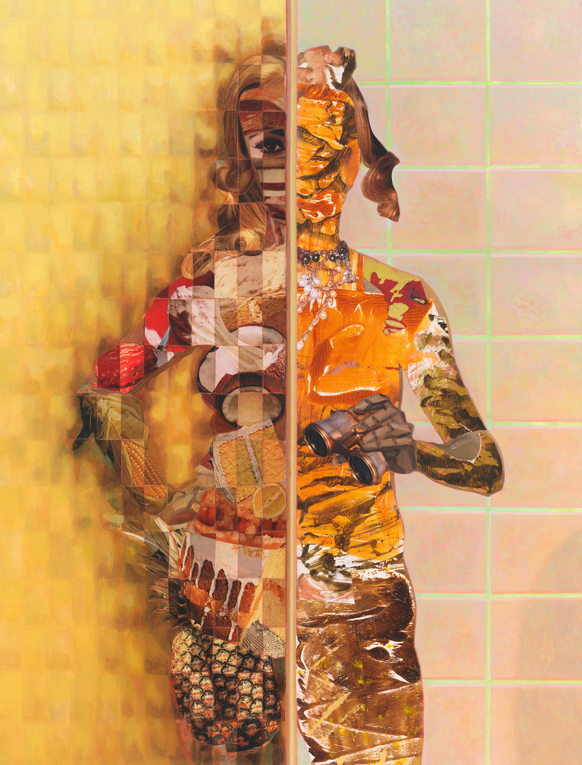 "Binocular Stall, 2011, acrylic, collage, oil on canvas, 41"" x 31"""