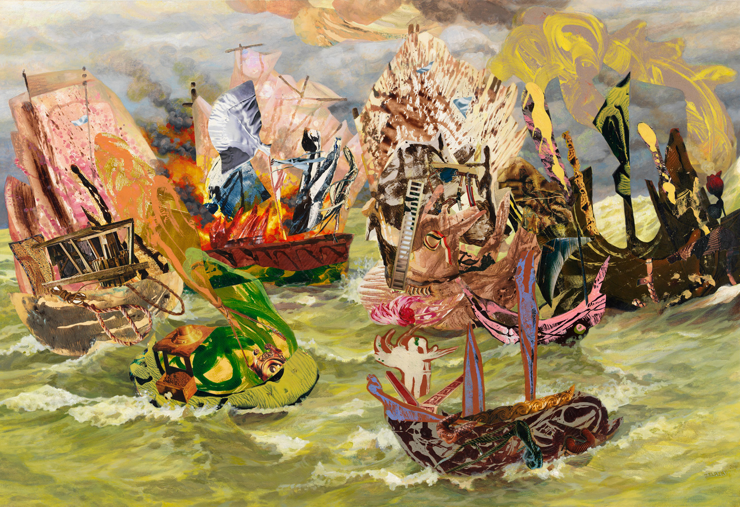 "Loose Ships, 2011 acrylic, collage, oil on canvas, 34"" x 50"""