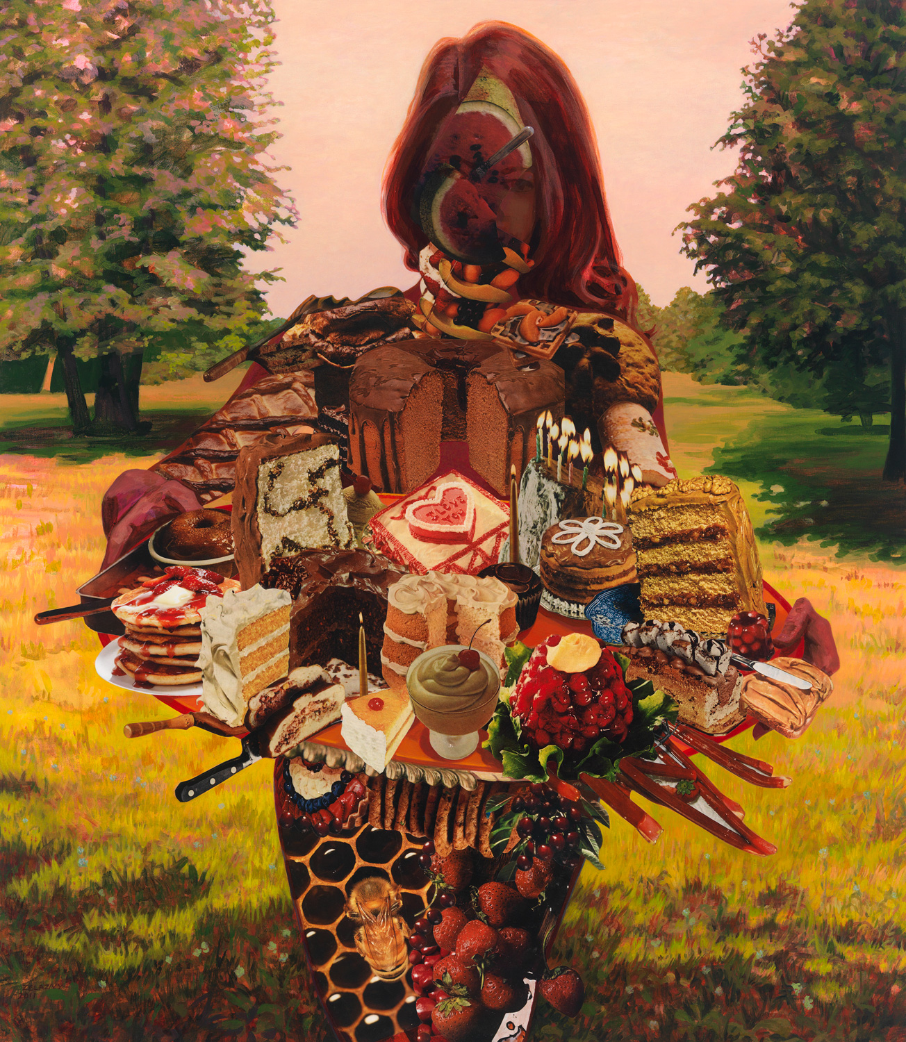 "The Cake Lady, 2011, acrylic, collage on canvas, 48"" x 42"""