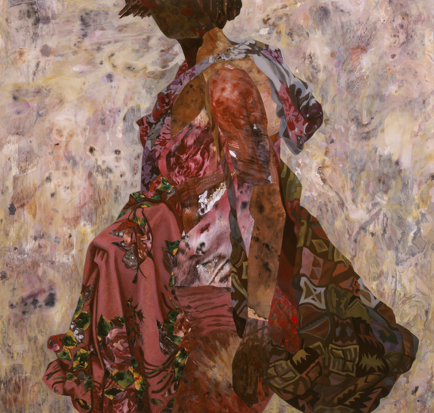 "Looking Sideways, 2002, acrylic, oil, collage on canvas, 48"" x 50"""