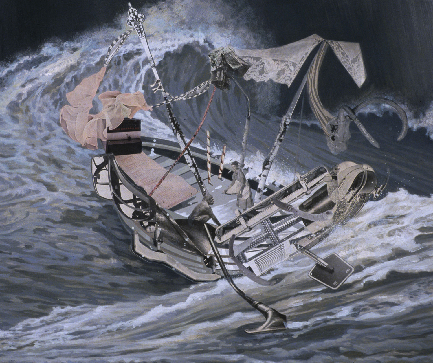 "Sea Legs, 2002, acrylic, collage on paper, 25.25"" x 29.5"""