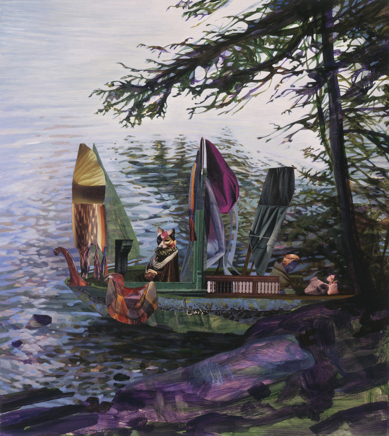 "Early Shore, 2006, acrylic, collage on panel, 27"" x 24"""