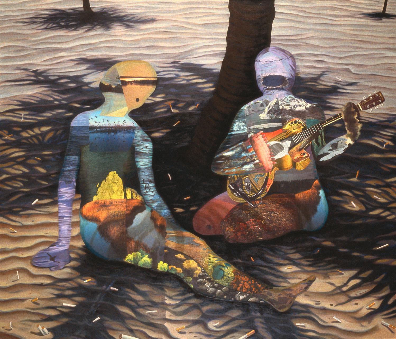 "O Sole Mio, 1991, oil, collage on canvas, 61"" x 71"""