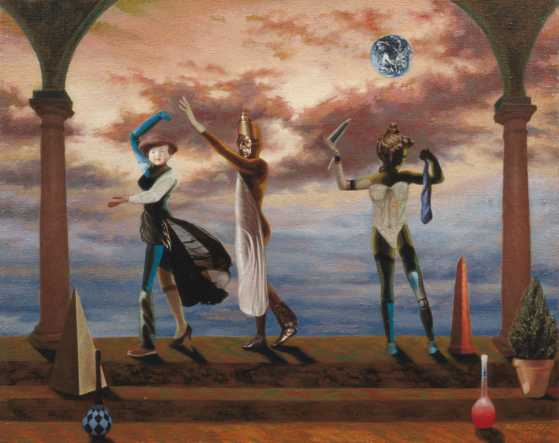 """Polonaise #8 Columns, 1996, acrylic, oil, collage on canvas, 13.5"""" x 17"""""""