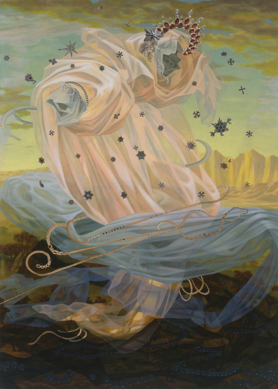 "She Had Blue Eyes, 1999, acrylic, collage, oil on canvas, 87.5"" x 63"""