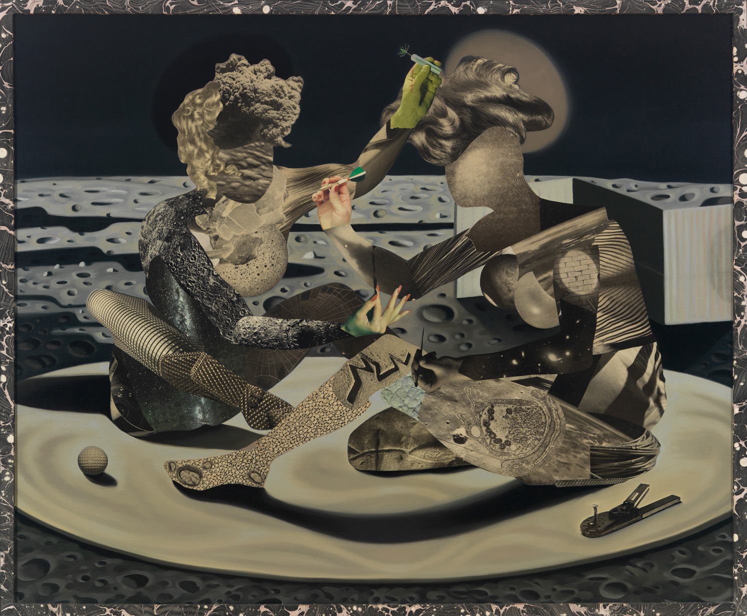 """The Vaccination, 1992, oil, collage on linen, 47.5"""" x 57"""""""