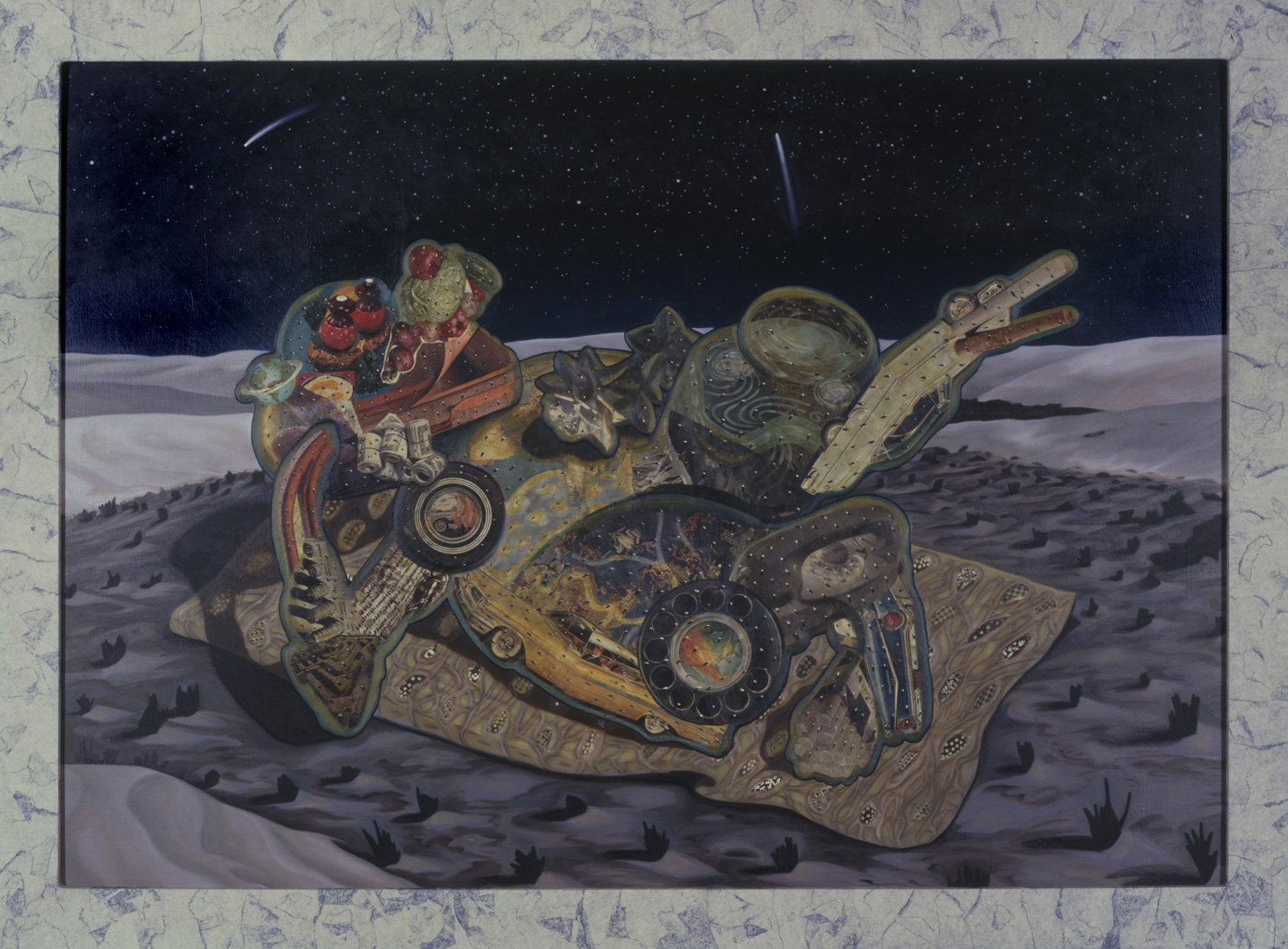 "Lazy Boy, 1986, oil, collage on panel, 54.5"" x 74"""
