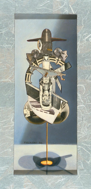 "Hydraulic Tabulator, 1989, oil, collage on panel, 15.5"" x 12"""