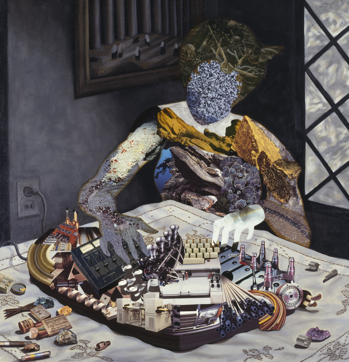 "Woman at Window, 1988, oil, collage on canvas, 40"" x 38.5"""