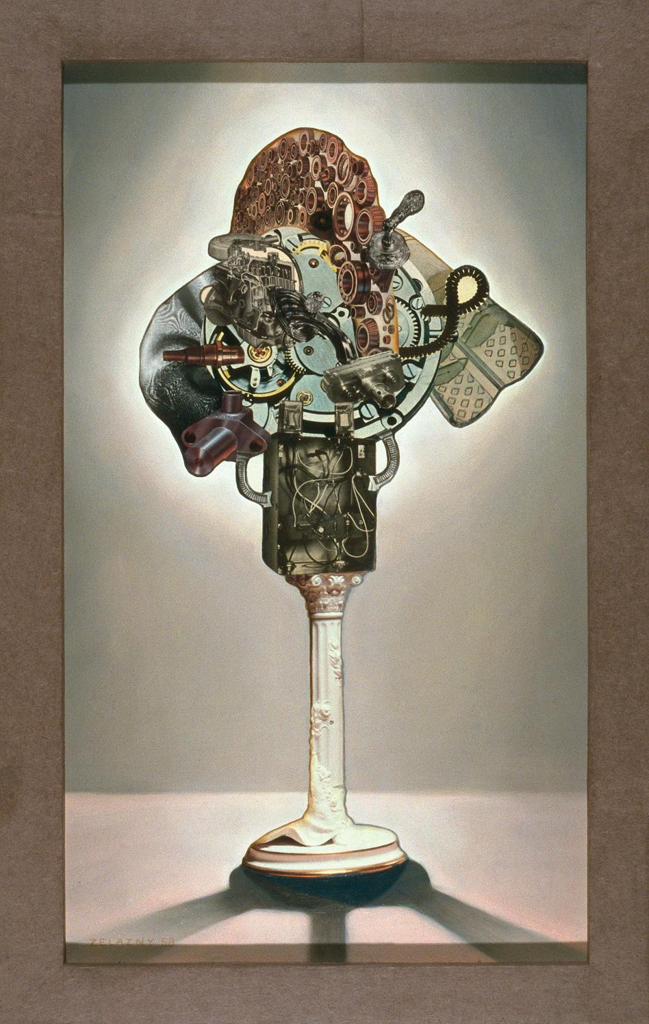 "Pneumatic Shredder, 1989, oil, collage on panel, 29.5"" x 19"""