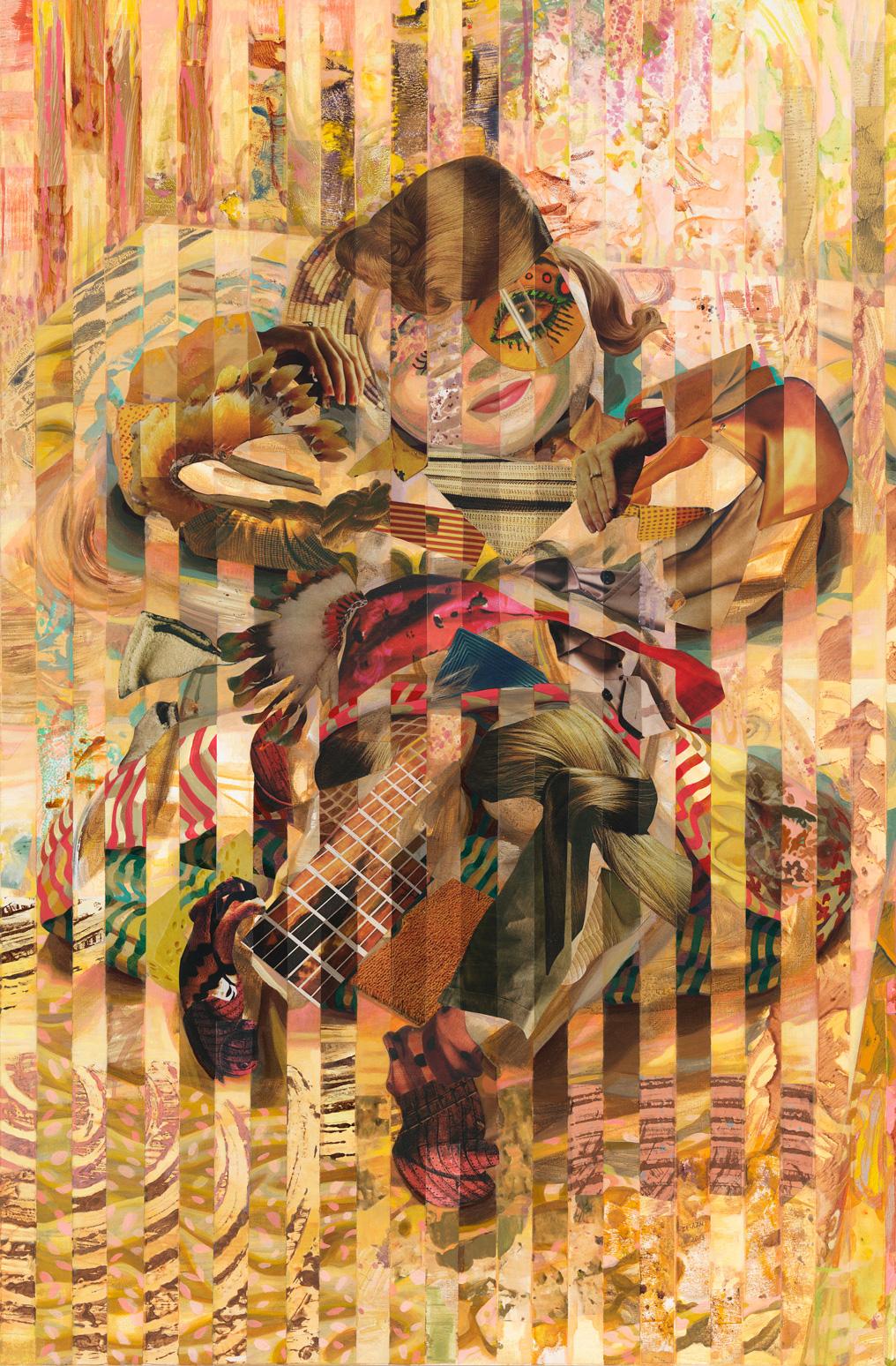 """Long Term Hug, 2013, acrylic, collage, oil on canvas, 58"""" x 38"""""""